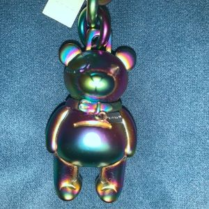 Coach Iridescent Metal Bear Keychain Charm